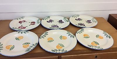 Vintage Hand Painted Poole Pottery Dorset Fruits Dinner Plates X 6