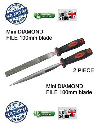 2pc Diamond File Set Half Round & Taper Flat Stone Glass Metal Tiles Soft Grip