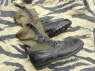 ORIGINAL vintage BATA 1966 US ARMY ISSUE Vietnam War JUNGLE BOOTS  USA 12 UK 11