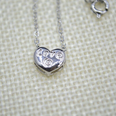 "Shiny 925 Sterling Silver PL Cute Love Heart Pendant Chain Necklace 18""Gift"