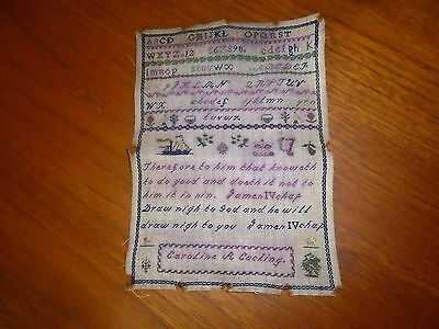 A Small Antique Sampler Embroidery by Caroline A. Cocking-c1860