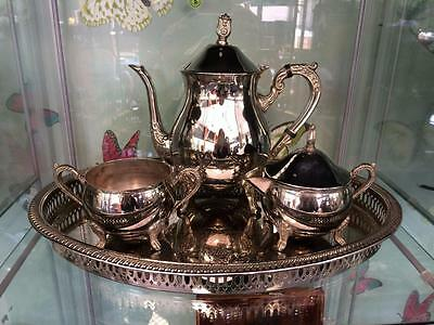 Vintage Silver Plated Tea Set Tea Pot Creamer & Lidded Sugar Bowl Later Tray