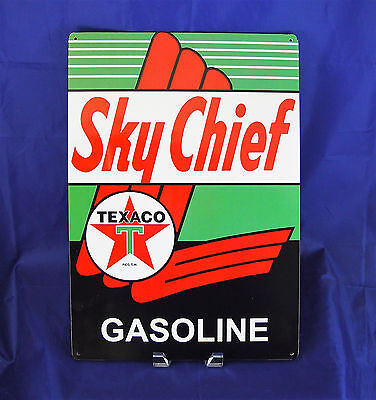 Texaco Sky Chief Gasoline Metal Tin Sign Vintage Rustic Shop Garage New Gas