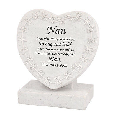 Nan We Miss You Heart Shaped Memorial Grave Plaque Cremation Marker