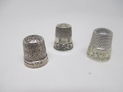 Antique Victorian Sterling Thimble Lot Of Three