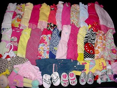 60pc USED BABY GIRL NEWBORN 0-3 3-6 MONTHS SPRING SUMMER CLOTHES LOT