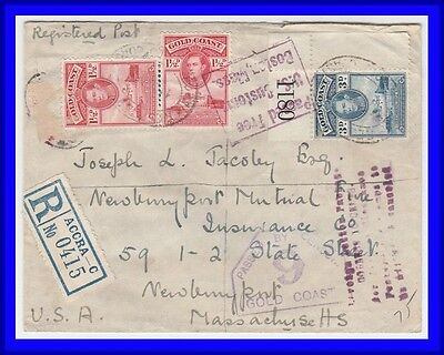 Gold Coast Accra to US 1941 Registered Censored WWII commercial Cover