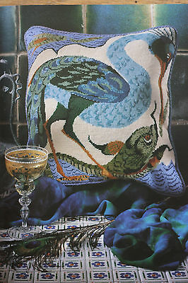 Rare 1992 Ehrman Bird Catching Fish Tapestry Needlepoint Kit by Neil McCallum