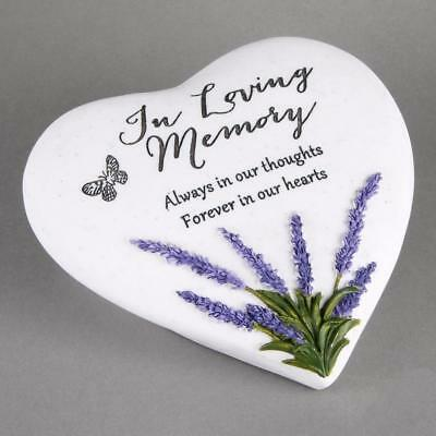 In Loving Memory Memorial Remembrance Heart Lavender Plaque Ornament 61974