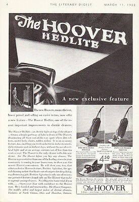 """1933 Hoover Hedlite Vacuum Cleaner photo """"Pathway of Light"""" promo print ad"""