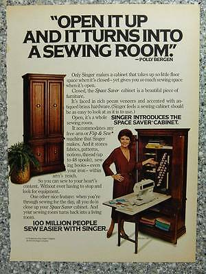 1978 Singer Sewing Machines Vintage Ad Page Space Saver Cabinet - Polly Bergen
