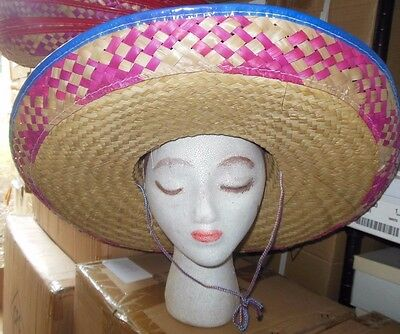 New/lot of 6 Straw Embroidered Large Sombrero Gold w/ pink brim 2 colors