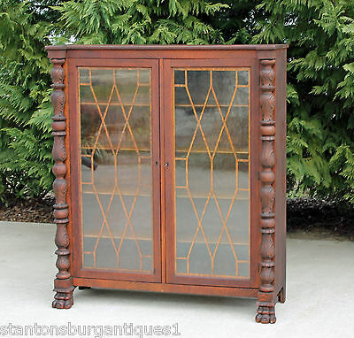 Tiger Oak Acanthus Carved Columns & Paw Feet Bookcase Display Cabinet c1890