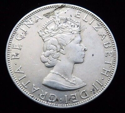 NICE XF 1964 BERMUDA ONE CROWN SILVER COIN (Obverse Lamination Error) Lot 753