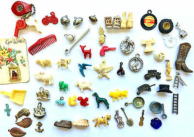 Vintage Lot Of 60+ Cracker Jack Prizes, Charms, Plastic & Metal Gumball Toys