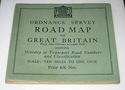 1932 OS ORDNANCE SURVEY GB ROAD MAP Ministry of Transport Road Numbers