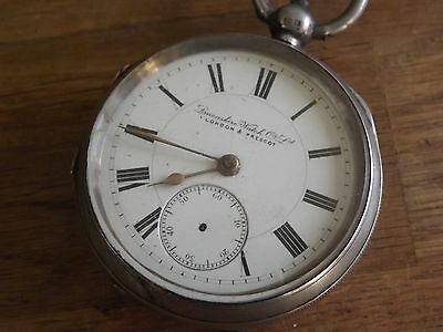 Good Antique Solid Sterling Silver London & Prescot Gents Pocket Watch