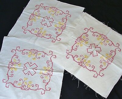 12 Vintage Hand Embroidered Red & Yellow on White Cotton Quilt Blocks