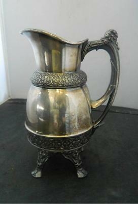 Antique Rogers Smith Meridan Quadruple Silverplate Footed Pitcher