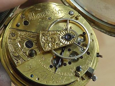 Manchester Antique Solid Sterling Silver William. W. Kent Fusee Pocket Watch