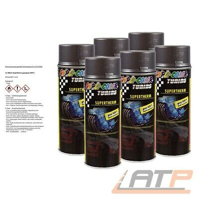 6x 400ml DUPLI COLOR SUPERTHERM GRAU 600°C HITZELACK AUSPUFFLACK SPRAY 471544