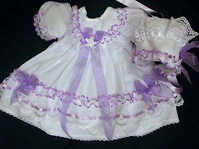 Dream Baby Girls White Lilac Dress & Bonnet Nb 0-3 3-6 Months Or Reborn Dolls