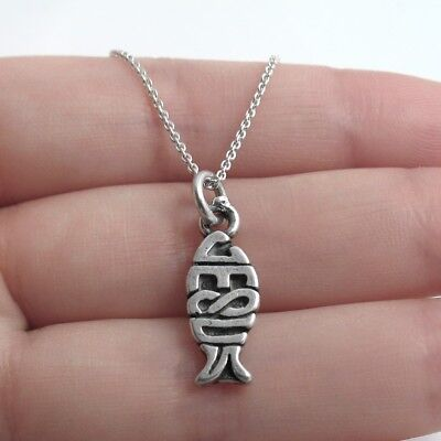 925 Sterling Silver Jesus Christian Fish Charm with Necklace