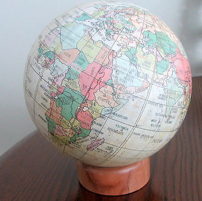 Vintage  18 Inch Circumference World Globe Wooden Stand