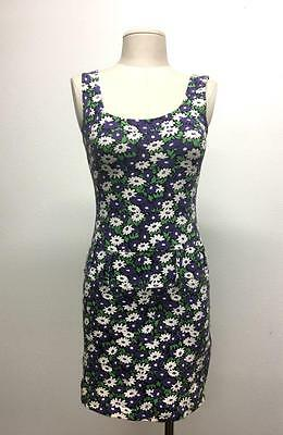 Vintage 1990's Contempo Casuals bodycon floral stretchy tight dress M