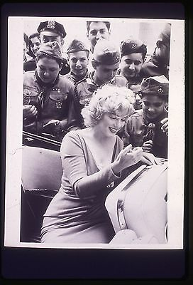 35mm B&W transparency/slide candid photo marilyn monroe in ebbets field 1957.