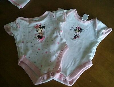 2 x minnie mouse pink white cotton vests body suits disney baby newborn 7 lbs 5