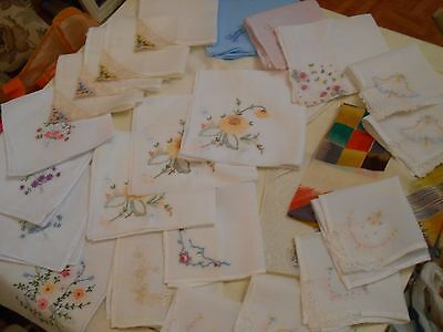 Joblot/Collection of Vintage/Antique Handkerchiefs + Boudoir Cushion Cover