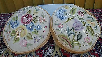 Pair Pretty Antique Fine Needlpoint Tapestry Cushions~Floral Decoration