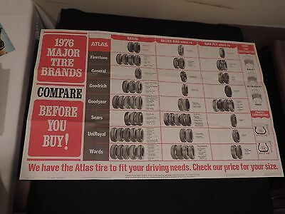 Vintage 1976 Atlas Tire Automobile Gas Station Poster Firestone Goodyear + (g64)
