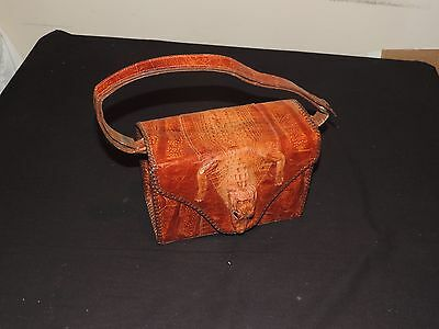 Vtg 1940s Alligator Leather Purse Hand Bag Taxidermy Rare Full Body (g72)