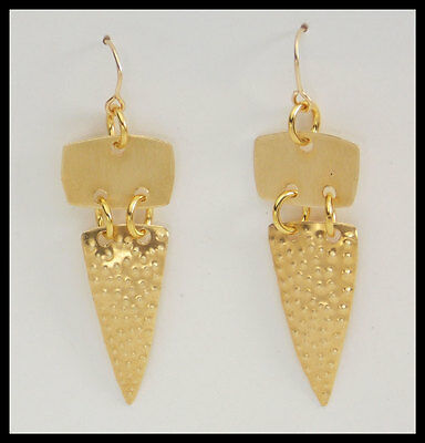GOLDEN DAGGERS - Handforged Punched 2 Section Bronze Tribal Earrings