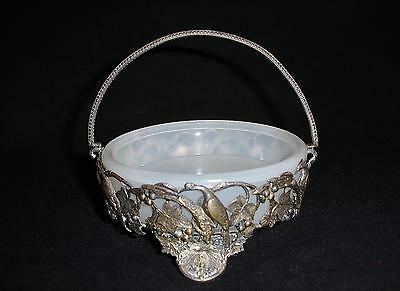 Silver Plate Bon Bon with Opaline Glass Insert Highly Detailed As Is