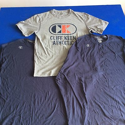 2 Men's Champion Long Sleeve & 1 Cliff Keen Short Sleeve Tees - Lot Of 3