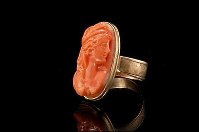 Old Early Victorian Carved Coral Cameo Lady Portrait 10K Gold Ring  (031917050)