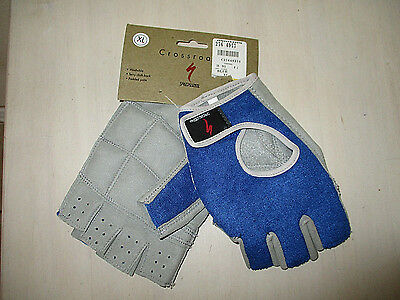 NWT Mens SPECIALIZED Blue/Gray HALF FINGER PADDED PALM CYCLING GLOVES Sz XL New!
