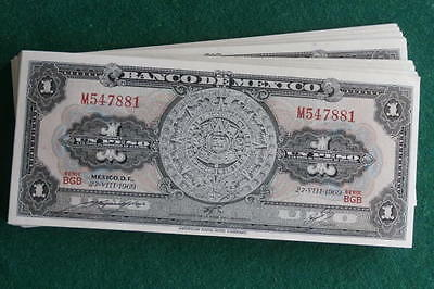 1969 1 peso Aztec calendar UNC lot of 100 pcs. American Banknote Co. consecutive