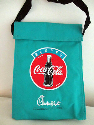 """1995 Always Coca~Cola Chick-fil-A Turquoise Insulated Lunch Bag 9 1/2"""" x 6 3/4"""""""