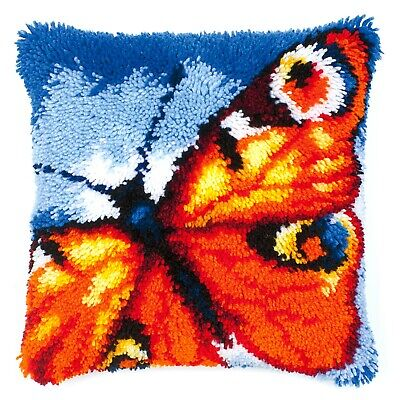 BUTTERFLY LATCH HOOK CUSHION FRONT KIT by VERVACO, 16 x 16 INS BRAND NEW