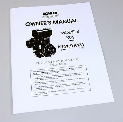 Kohler owners manual engine sales service directory 72 73 kohler k91 4hp k161 7hp k181 8hp engine owners operators publicscrutiny Gallery