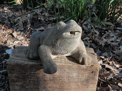 "Vintage Cement 7"" Long Frog Fountain Top Topper Garden Statue Weathered Concrete"