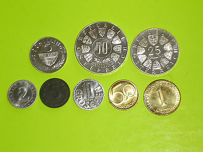 Austria Coins - Uncirculated Silver 1964 Complete Set Schillings Proof Coin.