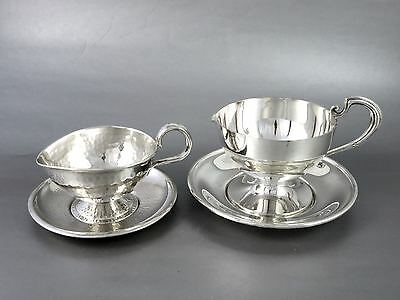 ARTS & CRAFTS Silverplate SAUCE BOATS W/TRAYS Bernard Rice's Son & P.W.Ellis