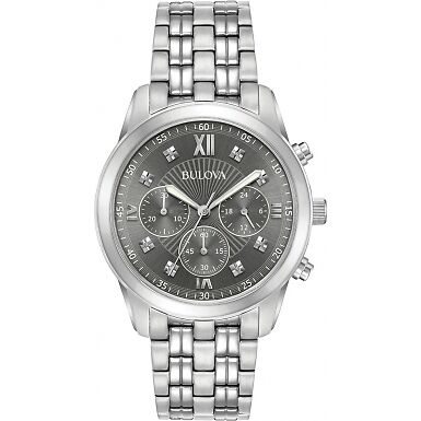 Bulova Men's £379 Retail Diamond Stainless Steel Chronograph Watch. Brand New