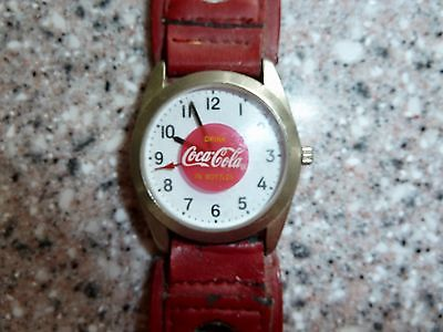 Vintage, Coca Cola Watch, Wristwatch, Red leather Band