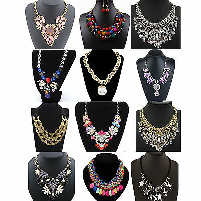 CHIC Fashion Pendant Chain Crystal Choker Chunky Statement Bib Necklace Jewelry